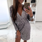 Sequin Glitter Shiny Club Mini Dress Women Sexy Deep V-neck Slit Bodycon Dress