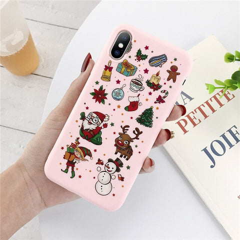 Woman Girl Santa Claus Christmas Phone Case For iPhone 7 8 6 6s Plus 11 Pro X XR XS Max 5 5s SE