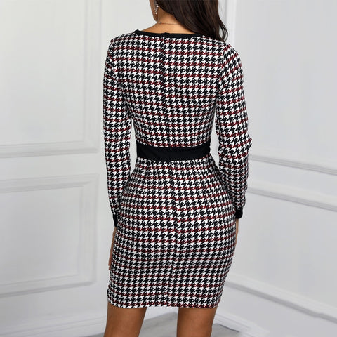 Sexy Women Short Dress Fall Winter Vintage Print Slim Long Sleeve Office Mini Dresses