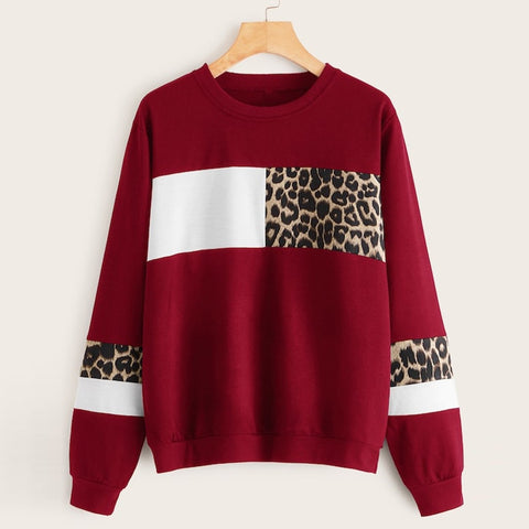 Leopard Print Sweatshirts Ladies O-Neck Blouse Tops Long Sleeve