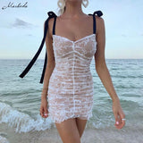 Women Sexy Mesh Patchwork Mini Dress  Lace Slim Party Vacation - Outfitter Style