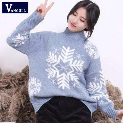 Women Knitted Sweaters Pullovers Turtleneck Long Sleeve Snow Christmas