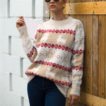 Women Christmas Sweater Long Sleeve ONeck Printed Deer Knitting Sweater