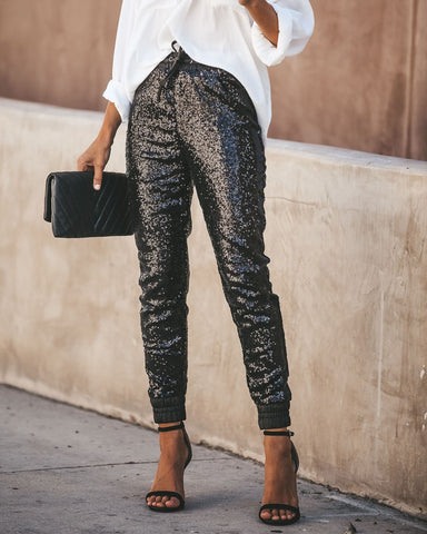 Women Sexy Pant High Waist Long Trousers Joggings Casual Pencil Sequined Pants