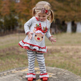 Toddler Girls Christmas Outfits 2pcs Long Sleeve Elk T-shirt Pants Kids Clothes Sets 1-5T