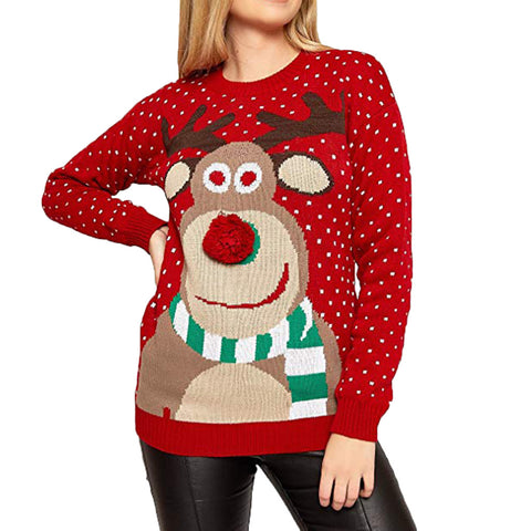 Christmas Deer Print Sweater Women Winter Warm Knitted Pullover Sweater