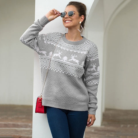 Christmas Sweater Womens Snow and Dear Jumper Autumn Winter Vintage Pullover