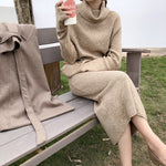 Winter Turtleneck Sweater Dress Women Lace Up Knitted Long Dress Female Knitwear