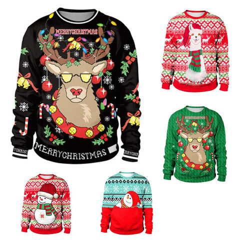Ugly Christmas Sweater snowman For gift Santa reindeer Pullover Womens Mens 3D