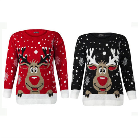 Plus Size 4xl Snowman Deer Sweaters New Santa Claus Xmas Patterned Ugly Christmas Sweaters