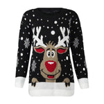 Christmas Reindeer Printed Sweater Popular Women O-Neck Long Sleeve Tops