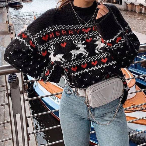 Christmas Sweater Elegant Women Jumper Pullover Tops Coat Plus Size Winter