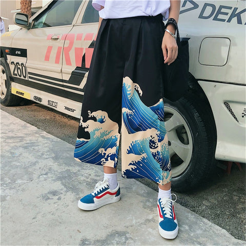 Japanese Style Wide Leg Pants Woman Loose Trousers