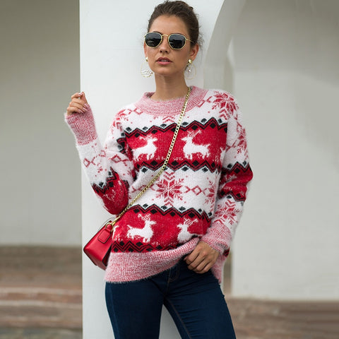 Xmas Sweater Women Pullover Sweater With Deer Elk Women Winter Sweater Knitted Thick Christmas