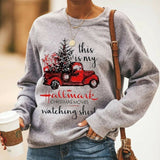Santa Tree Sweatshirt Autumn Winter Warm Crew Neck Christmas