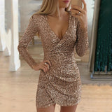 Sexy Sequined Bodycon mini dress Women V-neck Self Cultivation Dresses Slim Elegant