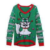 LED Light-up Knitted Tops Ugly Jumper Cartoon Cat Sweaters Santa Claus Xmas Patterned Christmas Sweaters