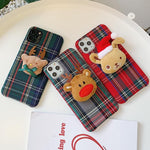 Christmas Elk England Tweed Plaid Fabric Hard Cases For iPhone 11 Pro XS MAX XR X 8 7 Plus 6 6S