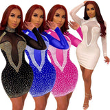 Sequin Dresses Women Sexy Crystal Bodycon Glitter Diamond Mini Dress