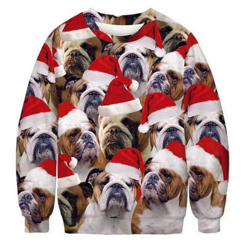 3D Funny Dog Print Ugly Christmas Sweater Xmas Women Men Pullover Sweaters Jumpers