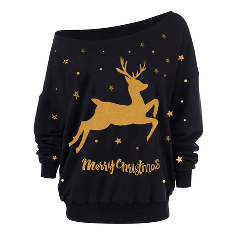 Women Sexy One Shoulder Sweatshirts Christmas Moose Print