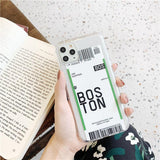 Air Tickets Bar Code Label Phone Case For iphone XS MAX 11 Pro XR X 7 8 6 6s Plus Clear Soft TPU - Outfitter Style