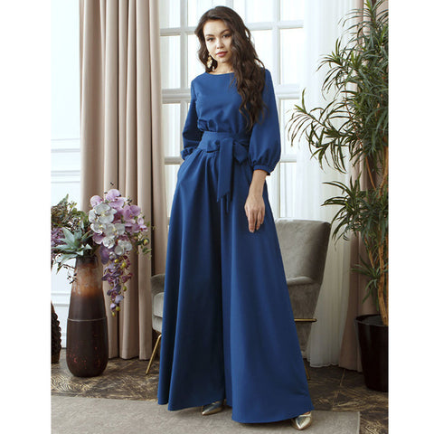Vintage Dress Sleeve o Neck Sashes Party Dress Solid Maxi Long Party Dress