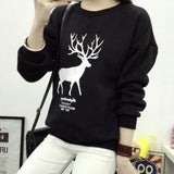 Christmas Women Deer Print Pullover Sweatshirt Casual Long Sleeve Sweater