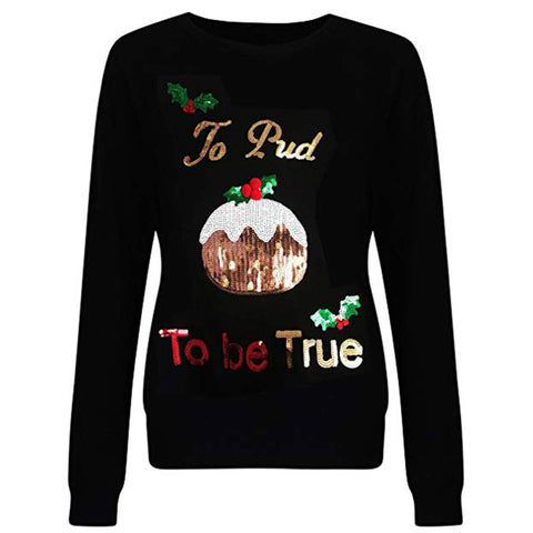 Christmas Pullover Sweatshirt Casual Christmas Sequin Printing Pullover