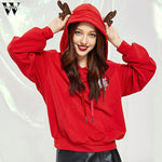 Christmas Hoodie Sweatshirt with ears Fashion Casual women Solid Sweatshirt
