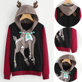 Christmas Hoodies Long Sleeve Sweatshirt Ladies Jumper Hooded