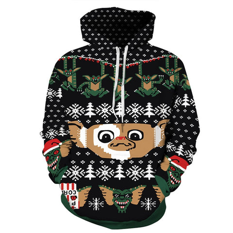 Christmas hoodies Jesus casual loose hoodie 3D Funny cartoon Monster