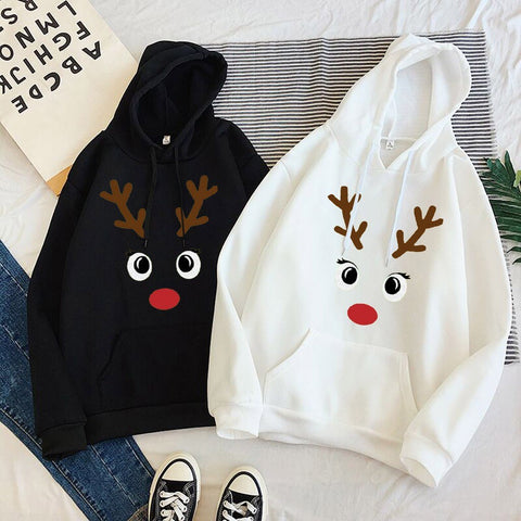 Christmas Print Sweatshirt Elk Printed Women Christmas Hoodies