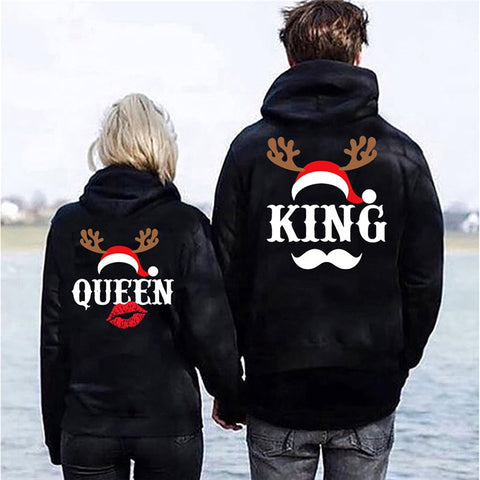 Xmas Couple Hoodies Pullover Women Letter Printed Christmas Hoodies