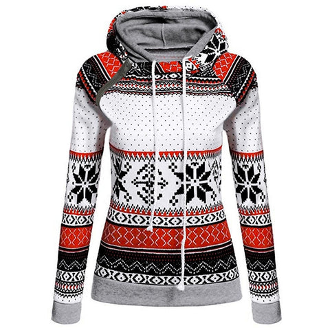 Women Christmas Print With Zipper Pullover Hooded Sweatshirt Tops