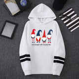 Christmas Print Long Sleeves Hooded Pullover Sweatshirt