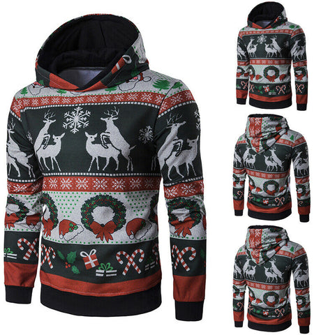 Christmas Hoodies Cartoon Print  Solid Loose Casual Hooded