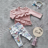 3PCS Toddler Baby Girl Clothes Sets Pink Ruffle Tops T-shirt + Floral Pants Headband 1-6Y Outfit