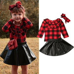 3Pcs Toddler Kid Baby Girl Clothes Sets Plaid Print Tops+Skirt+Headband Outfit Princess Party  Clothes