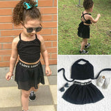 1-6Y Toddler Infant Kids Baby Girl Clothes Sets Sports Mesh Tops Letter Skirts 2Pcs Set Clothes