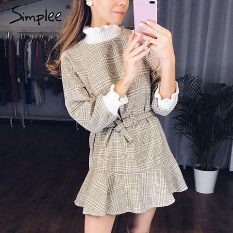Elegant plaid dress women Turtle neck knitted short dress female Ruffle sashes vintage