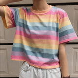 Summer Candy Color Stripe Short Sleeve Tshirt Women