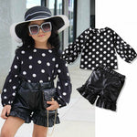 Toddler Baby Girl Black Polka Dot Tops Blouse Baby Kids Set Black Short Leather Pants