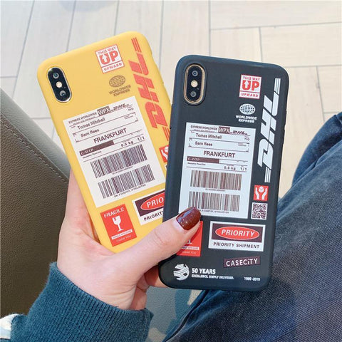 Express Couple DHL Pattern Phone Case For iPhone X 11 pro Xs Max Xr 8 7 6 Plus