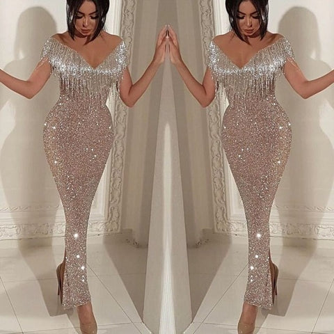 Sexy Evening Party Dress Full Long Dress Sequin One Shoulder Glitte