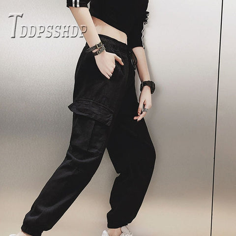 Cotton High Waist Cargo Pants Spring Female Trousers