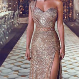 Long Dress Tube Top Floor Sequin One Shoulder Glitter Sexy Club