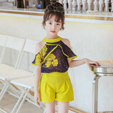 Summer Style 2Pcs Tops +Shorts Set Baby Kids Girls Clothes Age For 2t 3t 4 6 8 10 12 Years