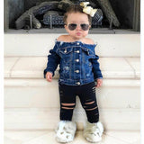 1-6T 2pcs Toddler Infant Baby Girl Denim Off Shoulder Coat Outwear Jackets + Shredded Pants
