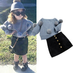 1-6T 2PCS Toddler Kid Baby Girl Clothes Set Winter Knitted Hairball Shirt + MIni Skirt Dress Outfits Set